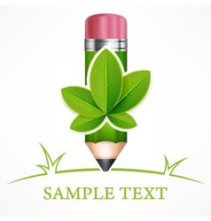 Green leaves pencil vector image