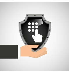hand holding password security shield data vector image