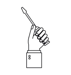hand holding screwdriver tool repair outline vector image