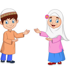 happy muslim kids cartoon vector image