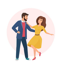 Happy romantic handsome man and pretty woman time vector