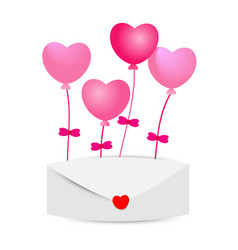 heart balloons with envelopes on white background vector image