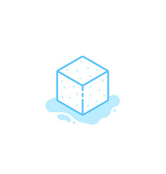 ice cube blue icon isolated on white vector image
