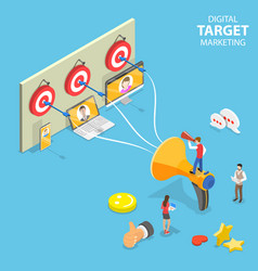 isometric flat concept digital target vector image