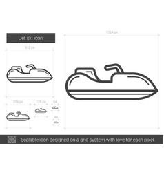 jet ski line icon vector image