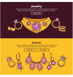 Jewelry shop web banners or page flat vector