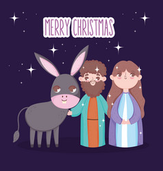 joseph and mary with donkey manger nativity merry vector image