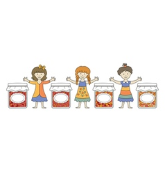 kids with jam 7 vector image