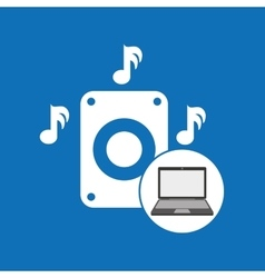 Laptop music technology speaker note vector