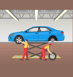 lifted car repairing process vector image