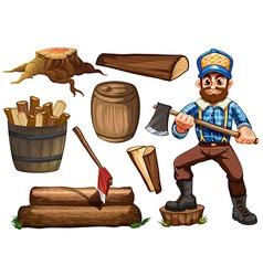 Lumberjack and firewood vector