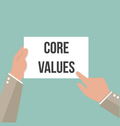 man showing paper core values text vector image