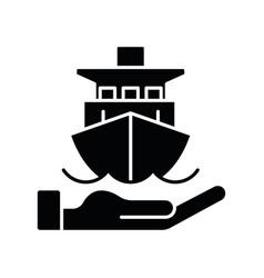 Marine insurance black glyph icon vector