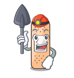 Miner sticking plaster on the mascot table vector