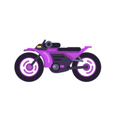 Modern fast sport bike in shiny purple corpus vector