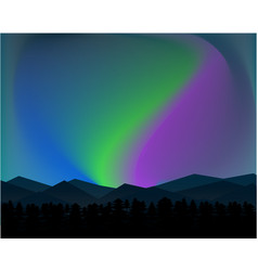 Mountain northern landscape night with aurora vector