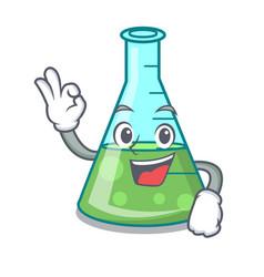 okay science beaker character cartoon vector image