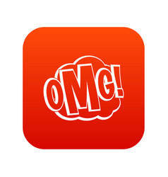 omg comic text speech bubble icon digital red vector image