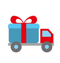 online shopping logistic truck delivery gift vector image