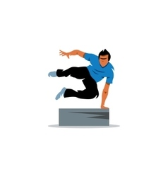 Parkour athlete jumping over a barrier sign Free vector