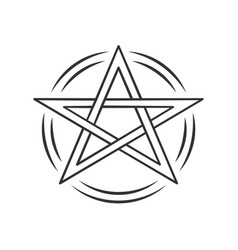 Pentagram linear icon thin line occult ritual vector