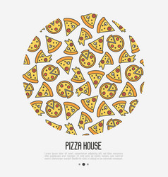 pizza concept in circle with thin line icons vector image
