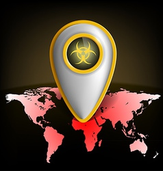 Pointer with the biohazard symbol on a map of the vector