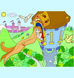 Princess rapunzel in the stone tower for children vector