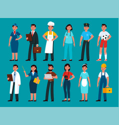 professionals builder and policeman stewardess vector image