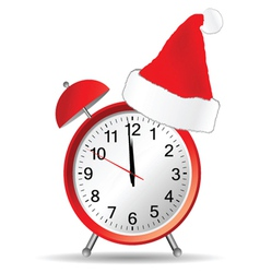 red clock with christmas hat vector image