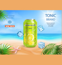 Refreshing soft drink ads aluminium can with lemon vector