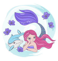 Resting mermaid dolphin sea cartoon vector