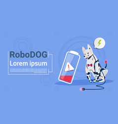 robotic dog with low battery charge domestic vector image