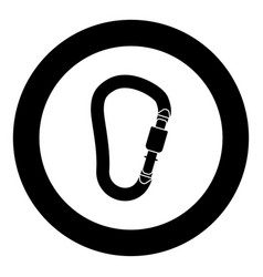 Safety hook or carabiner hook black icon in circle vector