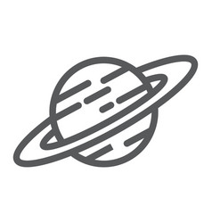 saturn line icon astronomy and space planet sign vector image