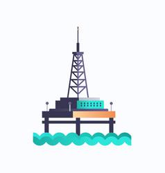 sea platform icon industrial offshore rig drilling vector image