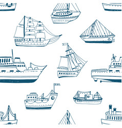 Seamless pattern with doodle ships yachts boats vector