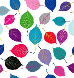 Seamless with colored leaves vector image