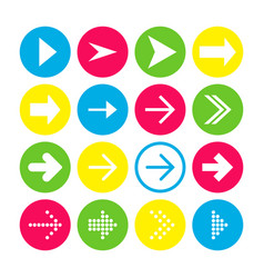 set of 16 right arrow icons arrow buttons on vector image