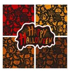 set of seamless patterns color icons for Halloween vector image