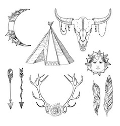 Sketch boho elements set vector