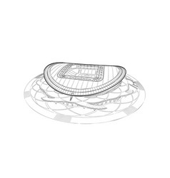Sketch main stadium in kazan vector