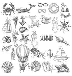 Sketch set - vacation at sea vector