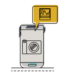 smartphone photo app and dialogue box in vector image