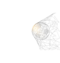 Soccer ball in goal from lines and triangles vector