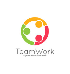 Teamwork logo team union on white background vector