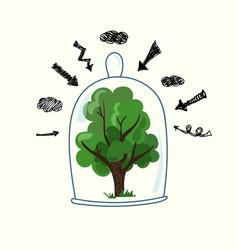 Tree under glass vector