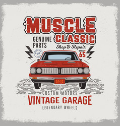 Vintage hand drawn classic muscle car t shirt vector