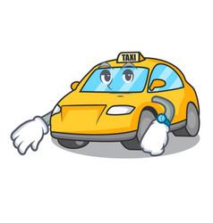 Waiting taxi character mascot style vector