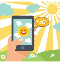 Weather smart phone sun vector image